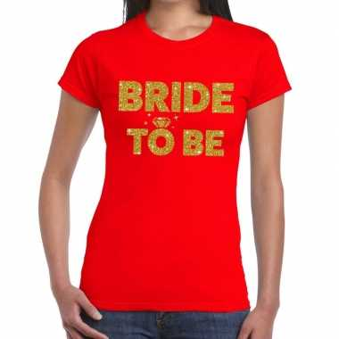 Bride to be goud fun t shirt rood dames