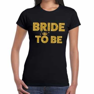 Bride to be goud fun t shirt zwart dames