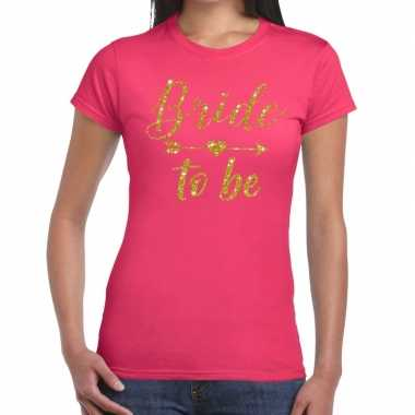 Bride to be gouden letters fun t shirt roze dames