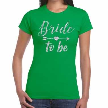 Bride to be zilveren letters fun t shirt groen dames