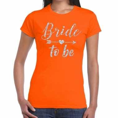 Bride to be zilveren letters fun t shirt oranje dames