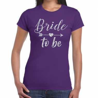 Bride to be zilveren letters fun t shirt paars dames