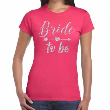 Bride to be zilveren letters fun t shirt roze dames