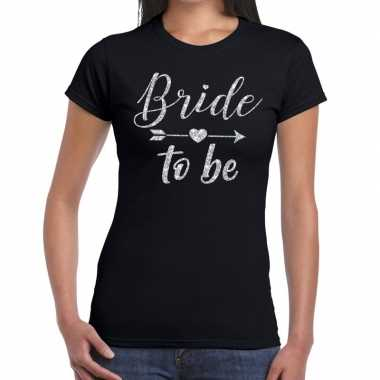 Bride to be zilveren letters fun t shirt zwart dames