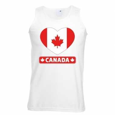 Canada hart vlag mouwloos shirt wit heren