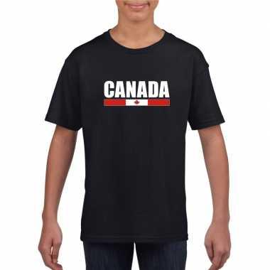 Canadese supporter t shirt zwart kinderen