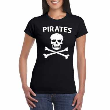 Carnaval piraten t-shirt zwart dames