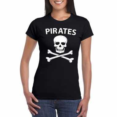Carnaval piraten t shirt zwart dames