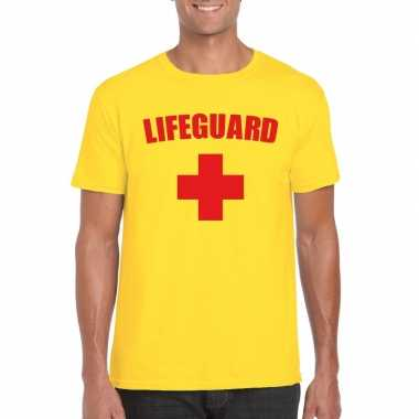 Carnaval reddingsbrigade/ lifeguard t shirt geel heren