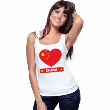China hart vlag mouwloos shirt wit dames