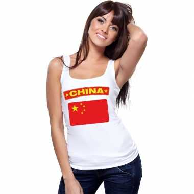 China vlag mouwloos shirt wit dames