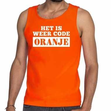 Code oranje mouwloos shirt / tanktop oranje heren