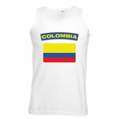 Colombia vlag mouwloos shirt wit heren