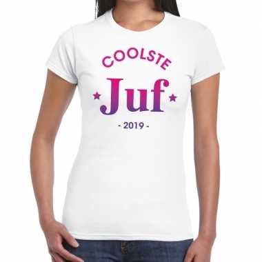 Coolste juf 2019 fun t shirt wit dames cadeau juffendag