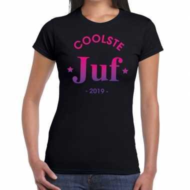 Coolste juf 2019 fun t shirt zwart dames cadeau juffendag