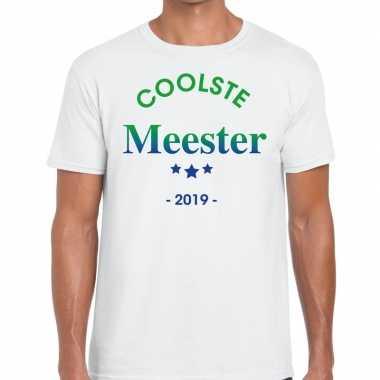 Coolste meester 2019 fun t-shirt wit heren cadeau meesterdag