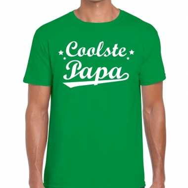 Coolste papa fun t shirt groen heren