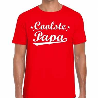 Coolste papa fun t shirt rood heren