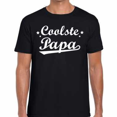 Coolste papa fun t shirt zwart heren
