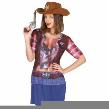 Cowboy shirt verkleedoutfit dames