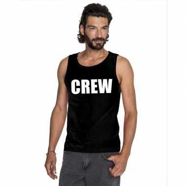 Crew mouwloos shirt zwart heren