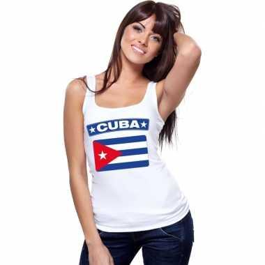 Cuba vlag mouwloos shirt wit dames
