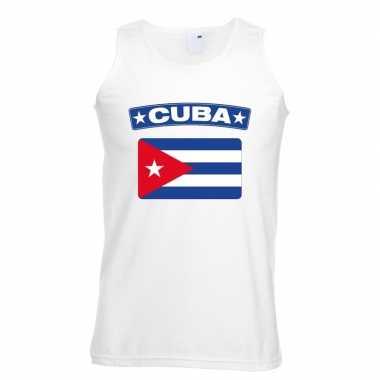 Cuba vlag mouwloos shirt wit heren
