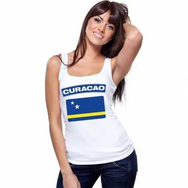 Curacao vlag mouwloos shirt wit dames