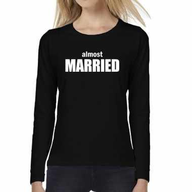 Dames fun t shirt long sleeve almost married vrijgezellen feest kledi