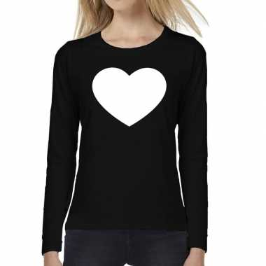 Dames fun t shirt long sleeve hart zwart