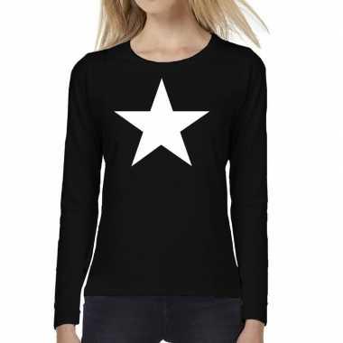 Dames fun t shirt long sleeve ster zwart