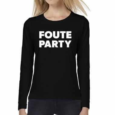 Dames fun text t shirt long sleeve foute party zwart