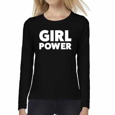 Dames fun text t shirt long sleeve girl power zwart