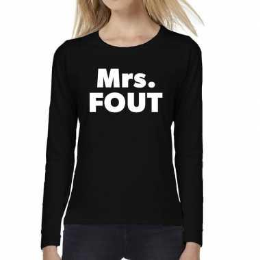 Dames fun text t shirt long sleeve mrs. fout zwart