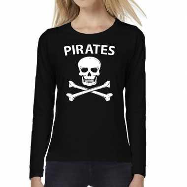 Dames fun text t shirt long sleeve pirates zwart