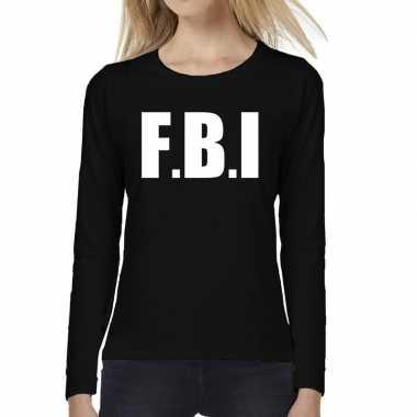 Dames fun text t shirt long sleeve politie fbi zwart