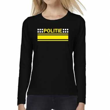 Dames fun text t shirt long sleeve politie logo zwart
