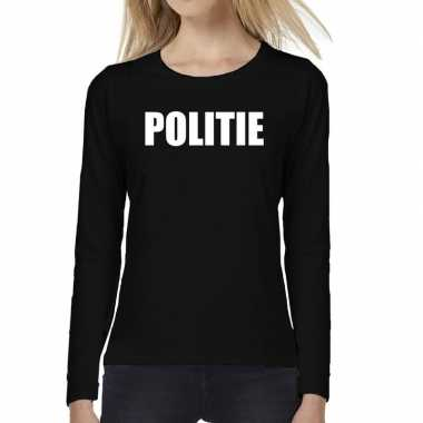 Dames fun text t shirt long sleeve politie zwart