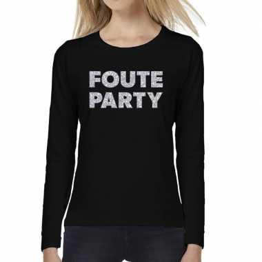 Dames long sleeve t shirt foute party zilver glitter bedrukking zwart