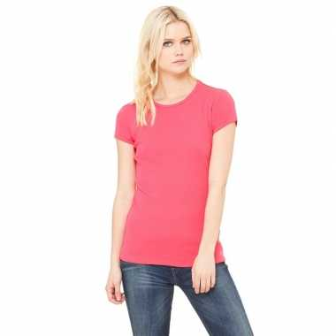 Dames t shirt fuchsia roze ronde hals hanna