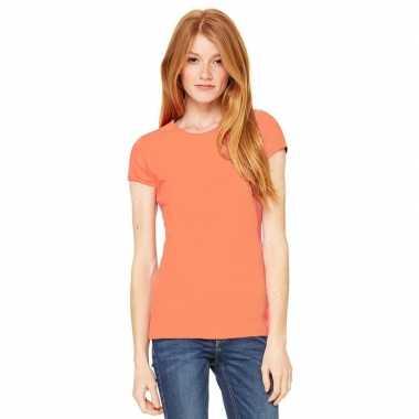 Dames t shirt koraal oranje ronde hals hanna