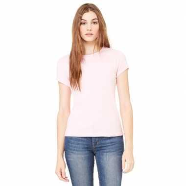 Dames t shirt licht roze ronde hals hanna