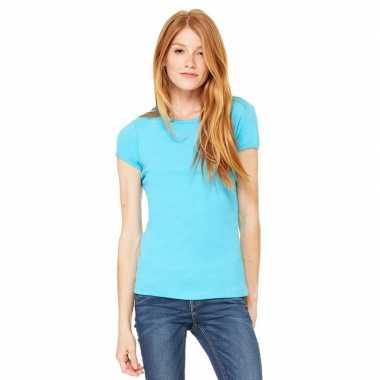 Dames t shirt turquoise ronde hals hanna