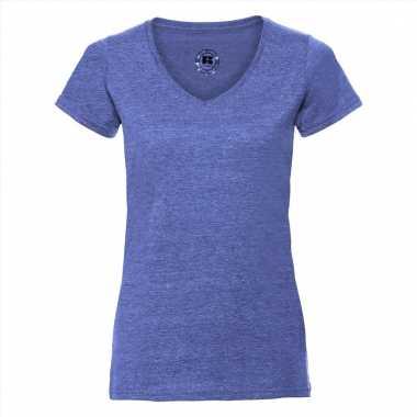 Denim blauwe dames t-shirts v hals