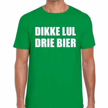 Dikke lul drie bier fun t shirt groen heren
