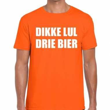 Dikke lul drie bier fun t shirt oranje heren