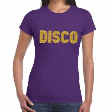 Disco goud fun t shirt paars dames