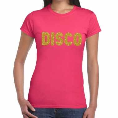 Disco goud fun t shirt roze dames