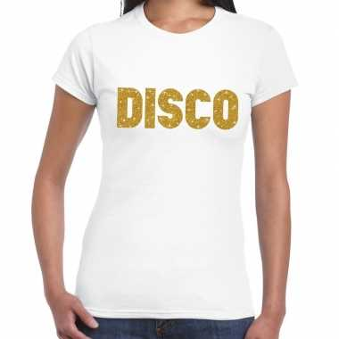 Disco goud fun t shirt wit dames