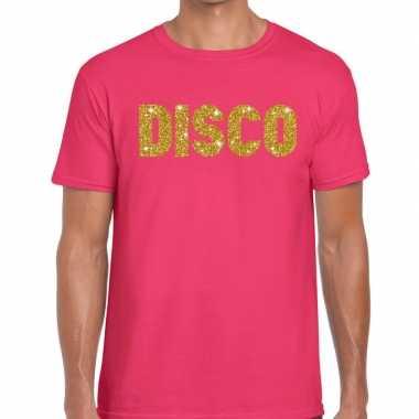 Disco goud glitter tekst fun t shirt roze heren